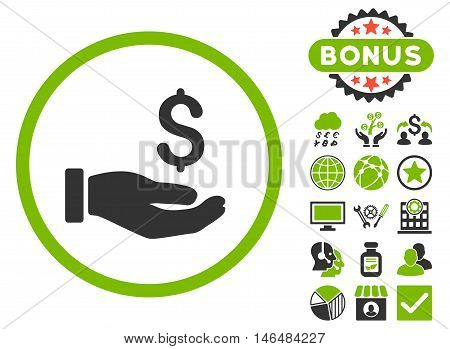 Earnings Hand icon with bonus. Vector illustration style is flat iconic bicolor symbols, eco green and gray colors, white background.