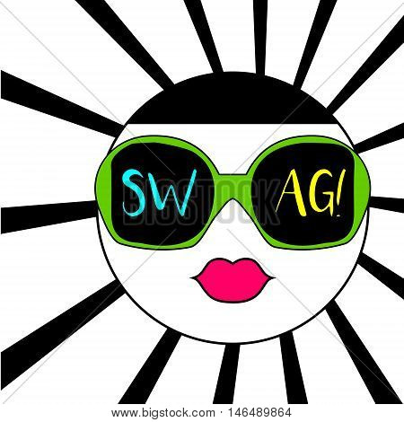 Colorful abstract face in sunglasses and swag text. Vector illustration trendy t-shirt print