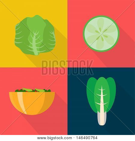 Set of great flat icons with style long shadow icon and use for vegetables, fruits and much more.