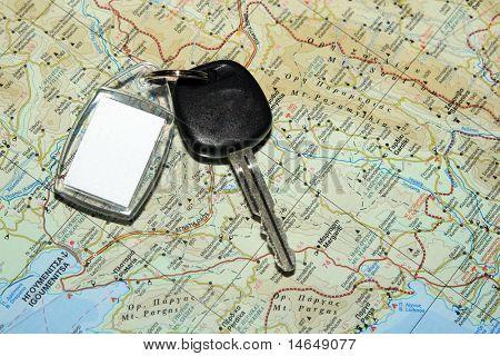 Map of Epirus Greece with car keys