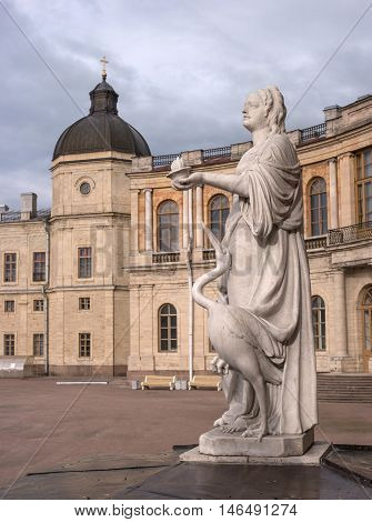 Gatchina Palace. Sculpture at the front door. Allegory - vigilance. The sculptor Johann Morleyter.
