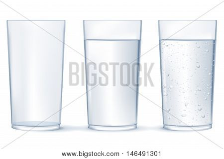 Glass of water. Glass of sparkling water. Vector illustration isolated on white background.