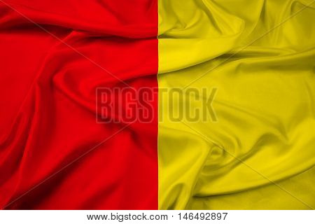 Waving Flag of Liege Belgium, with beautiful satin background