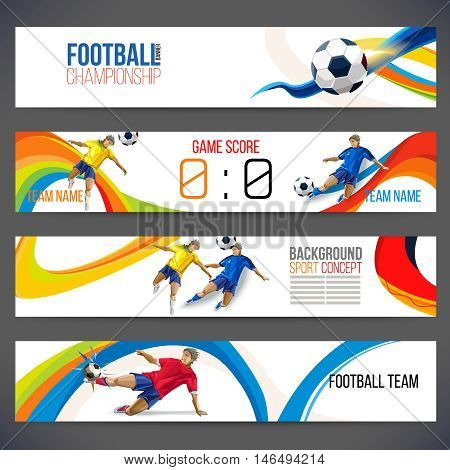 Concept of soccer player with colored geometric shapes assembled in figure football  Background of different color bands intertwined. champion football game. Table Matches. Isolate vector. Banner