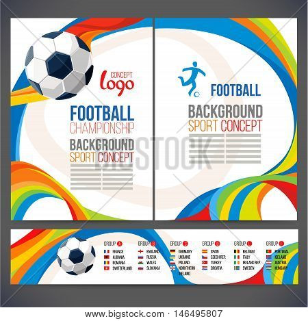 Concept of soccer player with colored geometric shapes assembled in figure football  Background of different color bands intertwined. champion football game. Table Matches. Isolate vector.