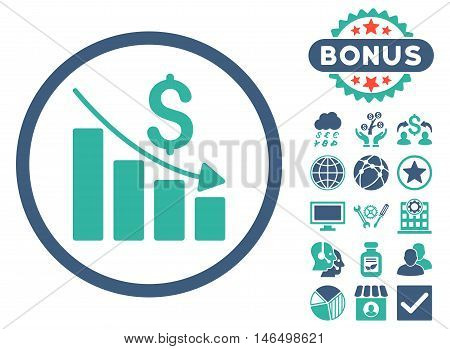 Recession Chart icon with bonus. Vector illustration style is flat iconic bicolor symbols, cobalt and cyan colors, white background.