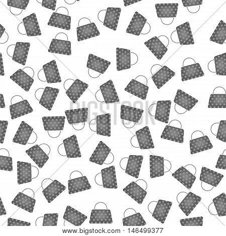 Seamless Womens Grey Handbags Pattern on White Background.