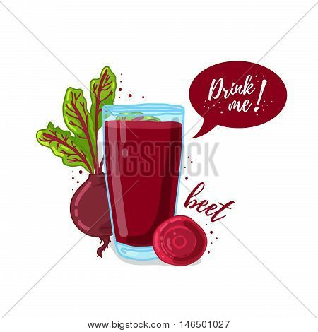 Design Template banner, poster, icons beet smoothies. Illustration of beet juice Drink me. Freshly squeezed vegetable beet juice for healthy life. A glass of juice in doodle cute style. Vector