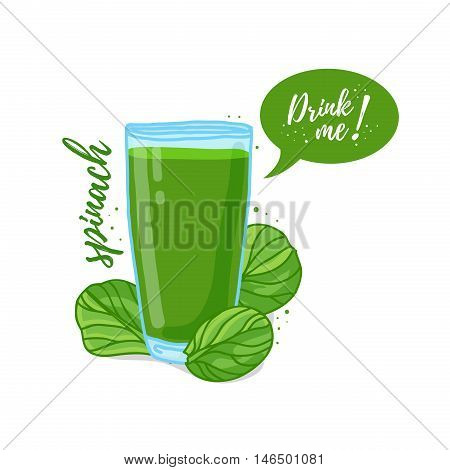 Design Template banner, poster, icons spinach smoothies. Illustration of spinach juice Drink me. Freshly squeezed vegetable herb spinach juice for healthy life. Vector