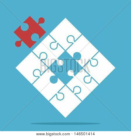 Puzzle with assembled white and missing red piece on blue background. Teamwork partnership and solution concept. Flat design. Vector illustration. EPS 8 no transparency