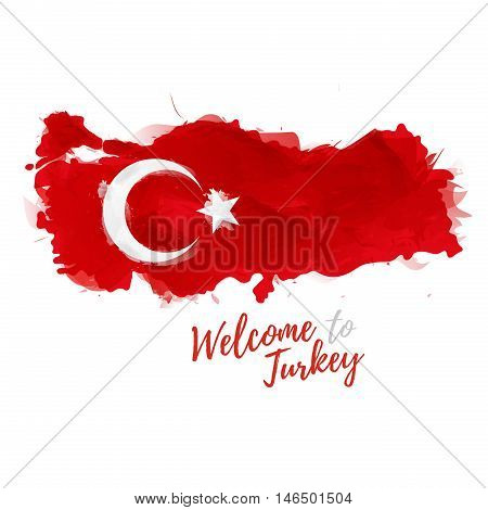 Symbol, poster, banner Turkey. Map of Turkey with the decoration of the national flag. Style watercolor drawing. Turkish map with national flag. Vector