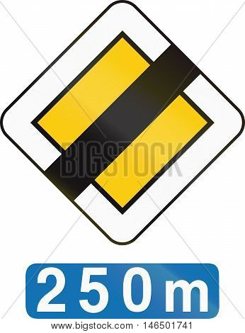 Belgian regulatory road sign - End of priority road in 250 meters. poster