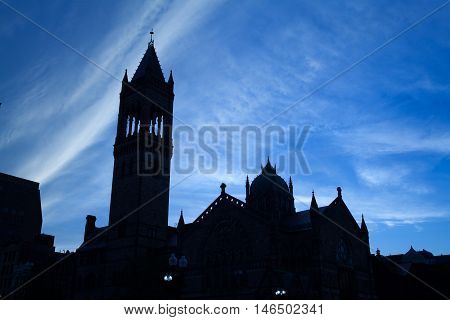 Silhouette of Old South Church in Boston. It is built in neo-Romanesque style on the north side of Copley Square on Boylston Street Boston Massachusetts USA