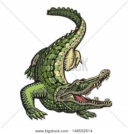 Ethnic ornamented alligator or crocodile. Hand-drawn vector illustration with decorative elements