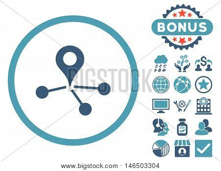 Geo Network icon with bonus. Vector illustration style is flat iconic bicolor symbols, cyan and blue colors, white background.