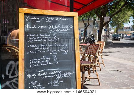 Typical french restaurant showing the menu of the day