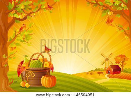 Thanksgiving day vector illustration. Beautiful autumn landscape, sunny background, modern elegant, copy space. Country fall farm harvest thankful symbol, pumpkin, picnic basket, fruit