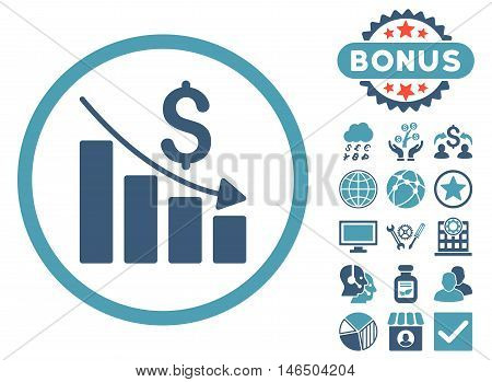 Recession Chart icon with bonus. Vector illustration style is flat iconic bicolor symbols, cyan and blue colors, white background.