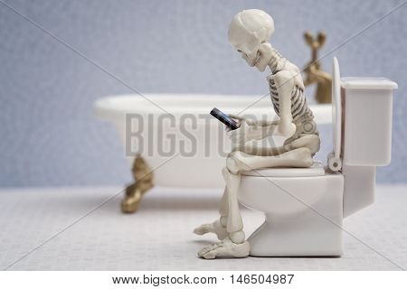 Skeleton sitting on water closet with his smartphone