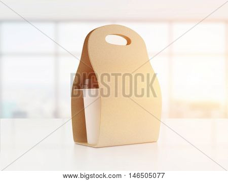 Brown Carton Bag With Coffee