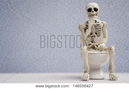 Skeleton sitting on water closet while thinking