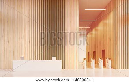 Reception And Turnstiles In Office With Wooden Walls