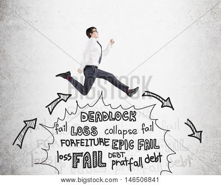 Businessman Jumps Over Problems