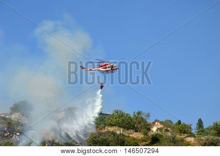 An arson attack on the mountains Prenestini of Castel San Pietro in Lazio