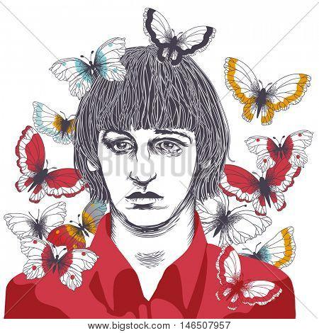SEPTEMBER 9 2016: Vector Illustration of Ringo Starr, eps10, vector