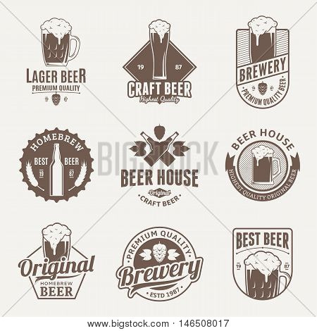 Set of vector brown beer logo icons and design elements on beige background for beer house bar pub brewing company branding and identity.