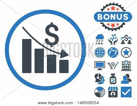 Recession Chart icon with bonus. Vector illustration style is flat iconic bicolor symbols, smooth blue colors, white background.
