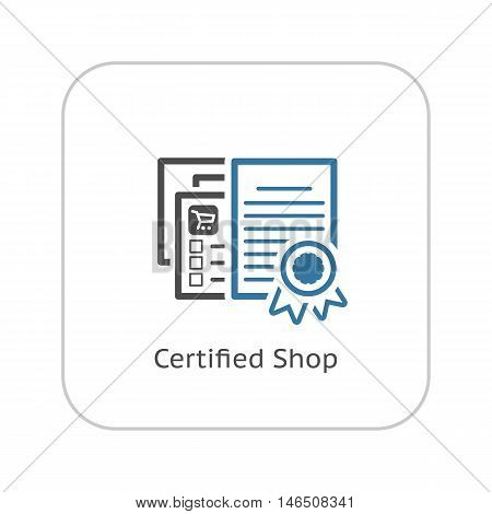 Certified Shop Icon. Flat Design. Isolated Illustration. App Symbol or UI element. Web Pages with Security Certificate.