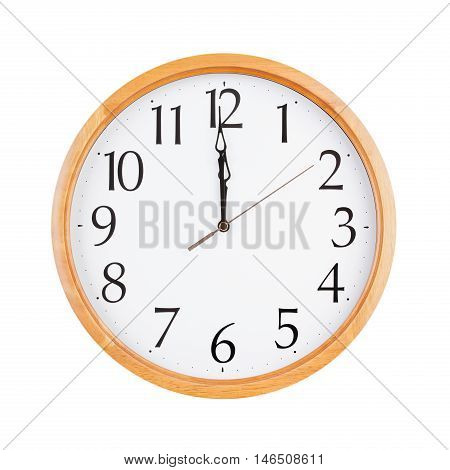 Exactly twelve o'clock on the round dial