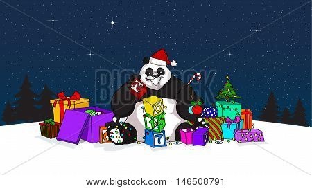 Hand drawn design of Panda as Santa with blocks, a lot of presents, new year's tree and many others decorations. Best for greeting cards, flyers, holiday posters, banners and backgrounds - stock vector