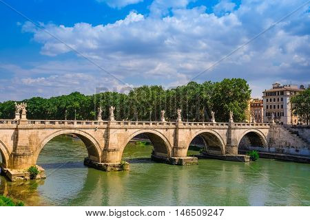 Roma, Italy - August, 7, 2016: Bridge Ponte, Sant'Angelo from Tiber in Roma, Italy