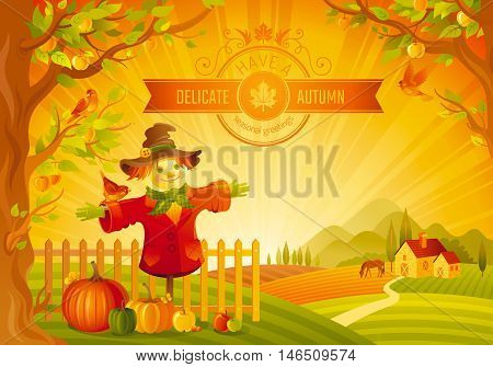 Thanksgiving day vector illustration of beautiful autumn landscape on sunset background, modern style, elegant text lettering, copy space. Countryside fall farm symbol - scarecrow, pumpkin, apple tree
