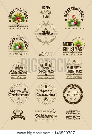 Vector Christmas and new year decoration collection of calligraphic and typographic design with icon and symbol elements.