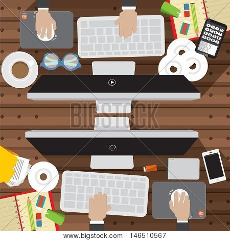 Flat Design Of Office Worker Desk With Office Supply Vector Illustration. EPS 10