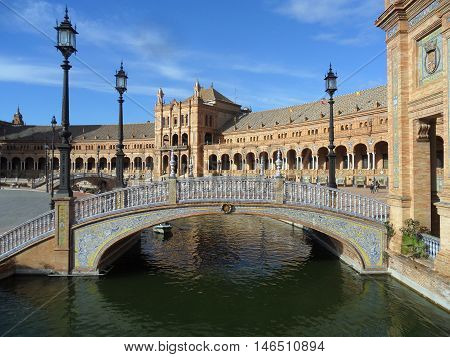 Plaza de Espana under the Bluesky, Seville, Andalusia, Spain
