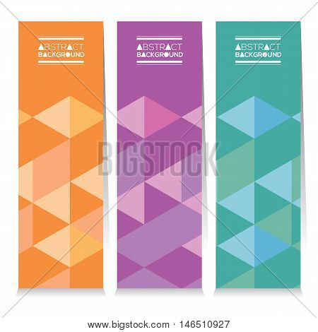 Set Of Three Colorful Geometric Vertical Banners Vector Illustration. EPS 10