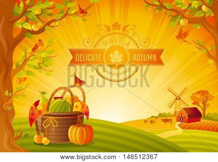 Thanksgiving day vector illustration. Beautiful autumn landscape, sunny background, modern elegant text lettering, copy space. Country fall farm harvest thankful symbol, pumpkin, picnic basket, fruit