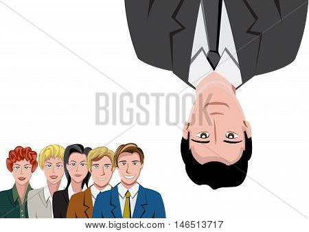 Teamwork with Man upside down, cartoon illustration