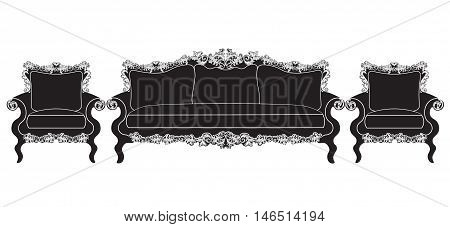 Vintage upholstered furniture set Vector. Rich carved ornaments furniture collection. Vector Victorian Style couch. Black color sketch