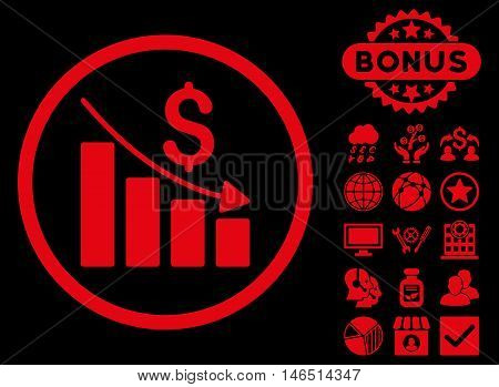 Recession Chart icon with bonus. Vector illustration style is flat iconic symbols, red color, black background.