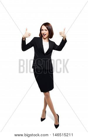 Business people - smiling woman standing in full body loock at camera isolated on white background with clipping path.