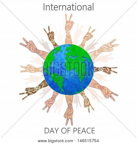 International Day of Peace 21 September on world. Love No War. Respect for Human Rights and Diversity. Every life is worth living. Use For banners, cards and advertising