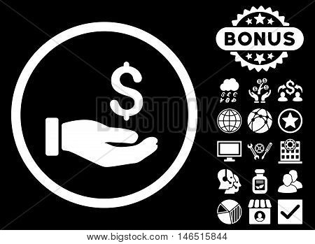 Earnings Hand icon with bonus. Vector illustration style is flat iconic symbols, white color, black background.