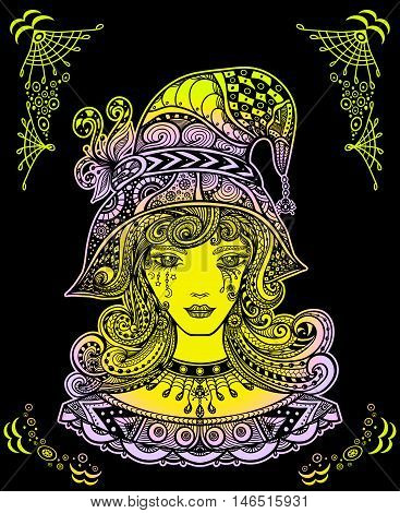 Witch in hat in Zen-doodle or  Zen-tangle decorative style handmade colors on black for Halloween or for wallpaper or for decorate package clothes or Masquerade image