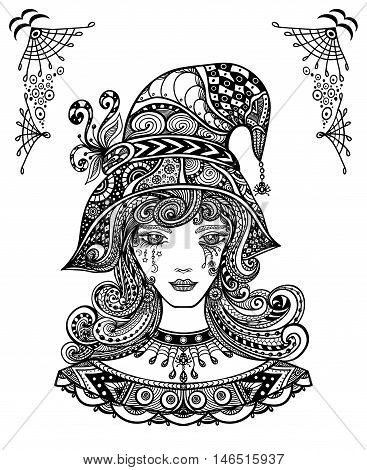 Witch in hat in Zen-doodle or  Zen-tangle decorative style handmade black on white for Halloween or for coloring page or relax coloring book for adult or wallpaper or for decorate package clothes