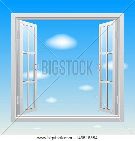 Open white double window with transparent glass on blue sky background. Concept design. Vector illustration